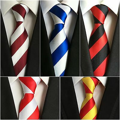 Mens Bold Stripe Classic Woven Microfibre Tie - Wedding Work Evening TieCentral