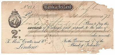 1872 Bank of Ireland Check Signed John Twohig (Texas Pioneer) on Back [2518.16]