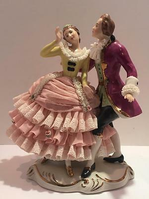 Vintage Dresden Art German Lace Porcelain Figurine Lady Gentleman