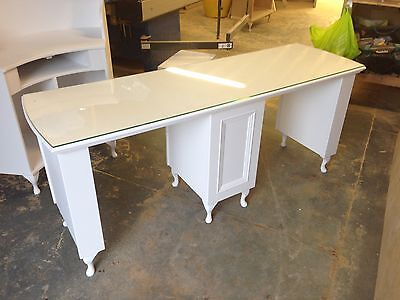Double manicure/nail desk - French style, bespoke with glass top