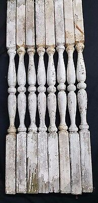 Architectural Salvage Wooden Spindle Balusters Set of Eight