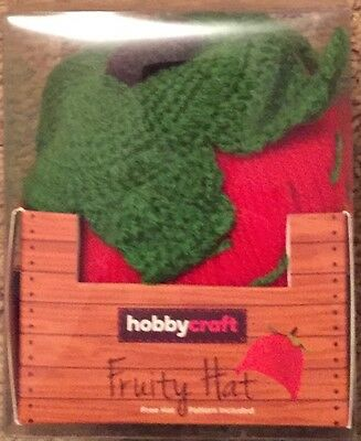 Hobbycraft Strawberry hat  knitting kit includes wool and pattern
