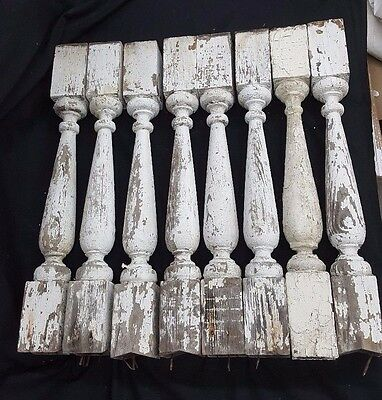 Set of Eight Architectural Salvage Wooden Spindle Balusters