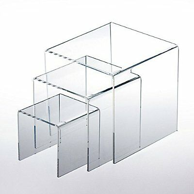 """Adorox Top Quality Set of 3 Clear Acrylic Display Riser 3"""" 4"""" 5"""" Jewelry Show..."""