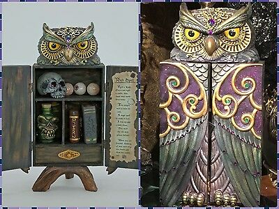 """katherine's collection Halloween owl potion witch cabinet & whats inside 18"""""""