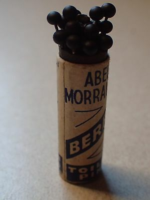 Antique Edwardian Abel Morrall's Sewing Blass Topped Toilet Pins Berry Pins