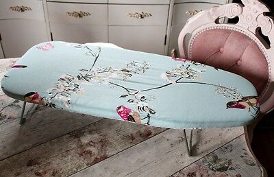 Duck Egg Birds Cotton Shabby Chic Vintage Floral Cherry Table Top Ironing Board
