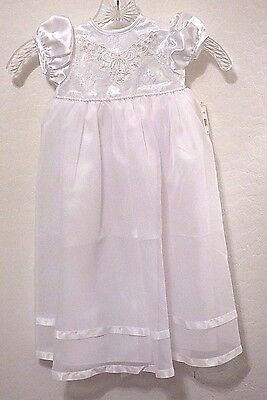 NWT Baby Infant Girl White Christening Baptism Dress Gown 6-9 Months Wedding $50