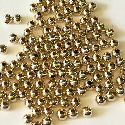 14k Yellow Gold Round Beads 3mm 4mm 5mm 6mm 7mm 8mm 9mm 10mm - Pack of 10 pieces