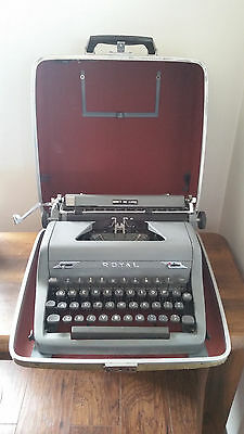 Royal Quiet De Luxe Typewriter with Case, Pad, Booklet and Key