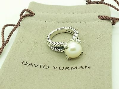 David Yurman Sterling Silver 10mm White Pearl Diamond Cable Classic Ring Size5.5