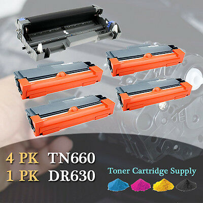 4PK TN660 Toner + 1PK DR630 Drum For BROTHER DCP-L2520DW HL-L2300D L2305W L2320D