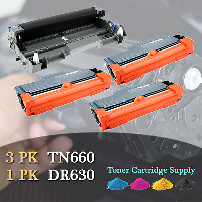 3PK TN660 Toner + 1PK DR630 Drum For BROTHER DCP-L2520DW HL-L2300D L2305W L2320D