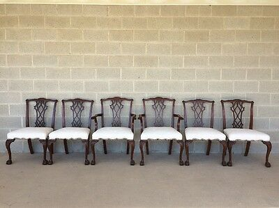 Baker Set Of 6 Vintage Chippendale Style Ball & Claw Mahogany Dining Chairs