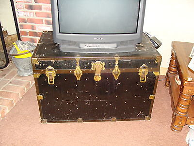 Vintage Antique Travel Steamer Trunk Case