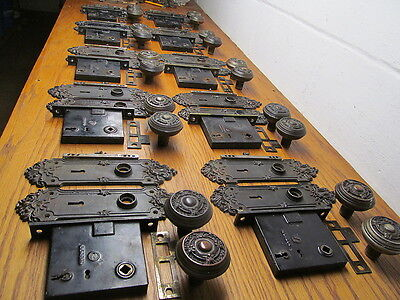 Huge Lot Of 10 Matching Corbin Lock Set Very Ornate Heavy Plates And Knobs