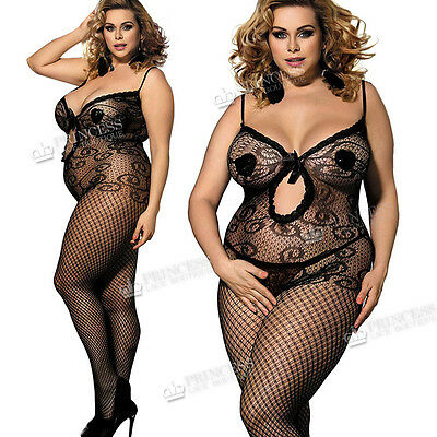 Plus+ size UK16 18 20 22 24 26 Bodystocking Lingerie Fishnet Curvy Ladies Tights