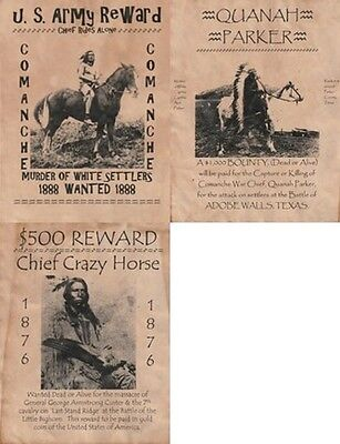 3 Old West Wanted Posters Crazy Horse Quanah Parker Army Western Old West Custer
