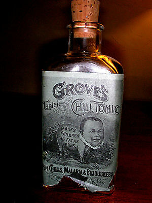 **grove's Tasteless Chill Tonic Bottle With Lable**