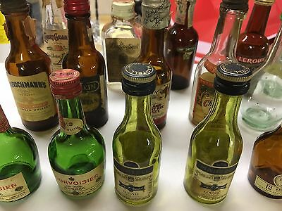 Lot of 17 Vintage Empty Bottles Mini Airline Whiskey Vodka Cognac Wine Bourbon