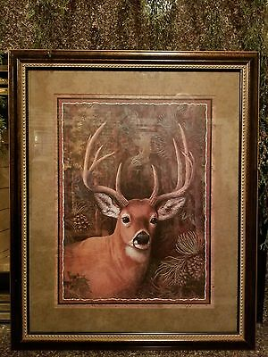 *Home Interiors LARGE Deer Buck Antlers Green Picture Brown Frame Father's Day*