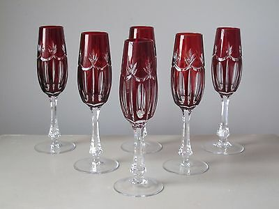 Czech Bohemian Ruby Red Cut to Clear Fluted Champagne Glasses, Set of (6)