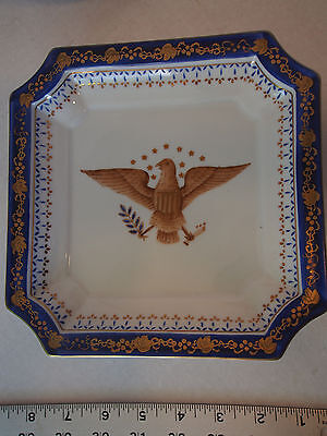 Fine Antique Hand Painted Patriotic Eagle Gold Gilt Cobalt Vine Tray Plate 8""