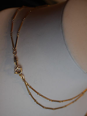 "28"" Vtg Antique Gold Tone Double Strand Chain Watch Fob Necklace Beautiful Links"