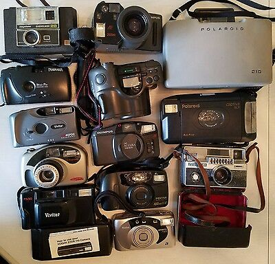Vintage Film Cameras Lot of 14 Pentax Vivitar Polaroid Kodak Olympus OTHERS