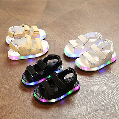 UK Hot Kids Boys Girls Summer LED Light Up Sandals Infant Children Party Shoes