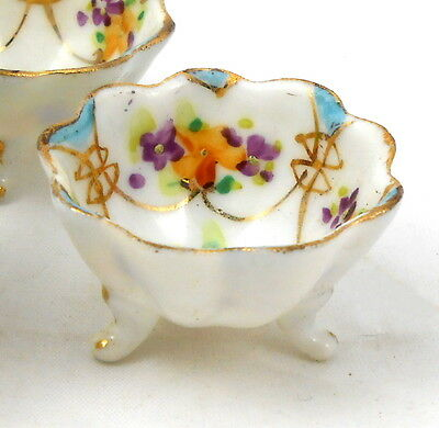 Antique Nippon China OPEN SALT CELLAR DIP NUT DISH Hand Painted ORNATE FLOWERS