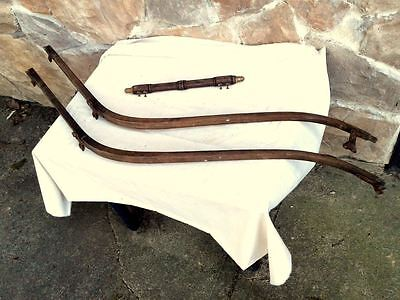 Pair ANTIQUE BABY CARRIAGE BUGGY OAK BENTWOOD HANDLES With PUSH HANDLE 1880