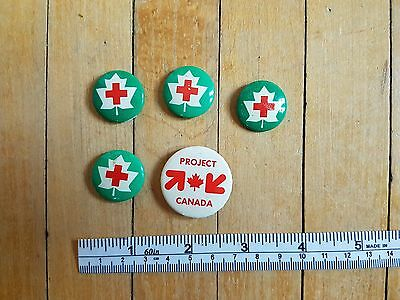 Vintage Red Cross and Project Canada Pinback Buttons