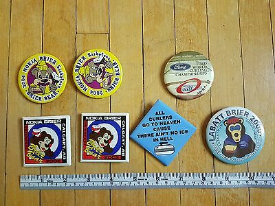 Curling Pinback Button Mixed Lot