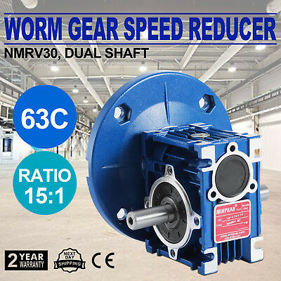 Worm Gear 15:1 63C Speed Reducer Gearbox Dual Output Shaft Active Local Vevor