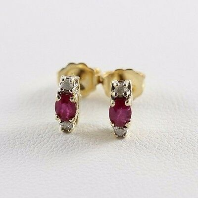 14k Yellow Gold Natural Ruby and Diamond Earrings Stud Earrings