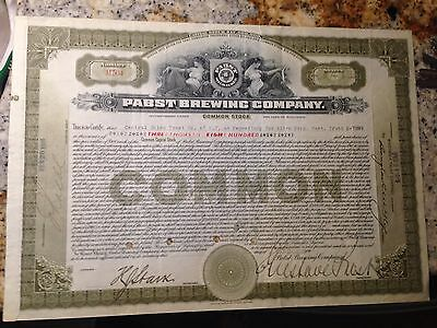 1919 PABST BREWING COMPANY - RARE Stock Certificate - signed GUSTAVE PABST