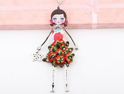 Beautiful vintage style rate moving doll lady necklace pendant Hand-made