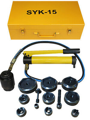 "15ton 1/2"" to 4"" Hydraulic Knockout Punch Kit Hand Pump 10 Dies Tool Hydra"