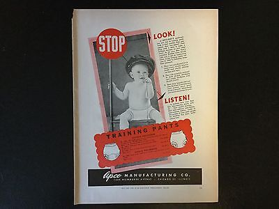 1946 Original Vintage Print Ad, Training Pants, Apco Manufacturing Co.