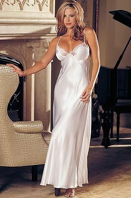 NEW Shirley Of Hollywood Charmeuse & Lace Long Gown, Gown/Robe
