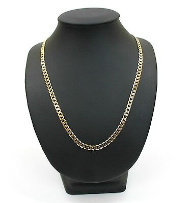 Mens 9K Solid Yellow Gold Curb Link Chain Necklace 22.0 Grams