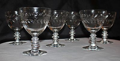 Set of 6 Matching Antique Etched Crystal Sherbet Brandy Wine Glasses Stemware