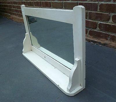 Antique Art Deco Timber Framed Wall Mounted Mirror With Shelf (720mm x 460mm)
