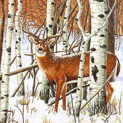 4x Deer in Forest Paper Napkins for Decoupage