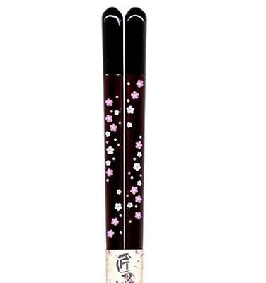 Japanese Dinner Chopsticks / Flowery - Black - Wood - Dishwasher Safe - New