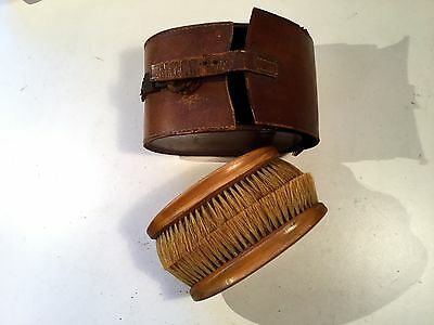 Vintage Gent's Brush Set in Brown Leather Case Wooden with Clothes Brushes