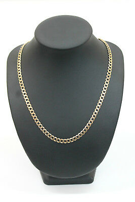 Men's 9K Solid Yellow Gold Curb Link Chain Necklace 28.9 Grams