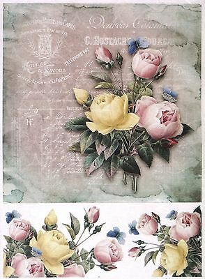 Rice Paper for Decoupage Decopatch Scrapbook Craft Sheet Vintage Colorful Roses