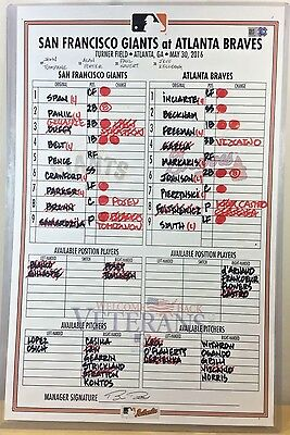 Mike Foltynewicz Career Win #6 Game-Used Mlb Baseball Lineup Card 5/30/16 Braves